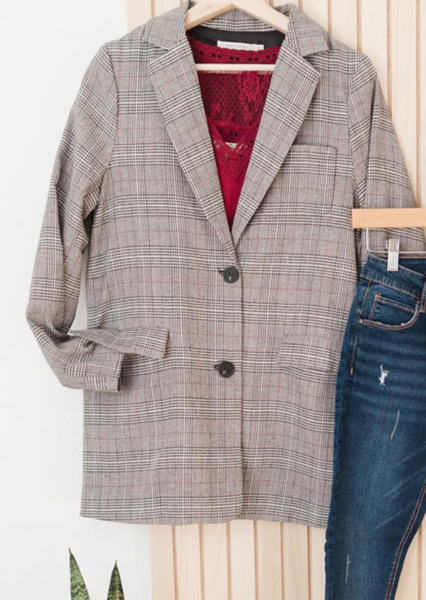 Plaid Boyfriend Fit Blazer