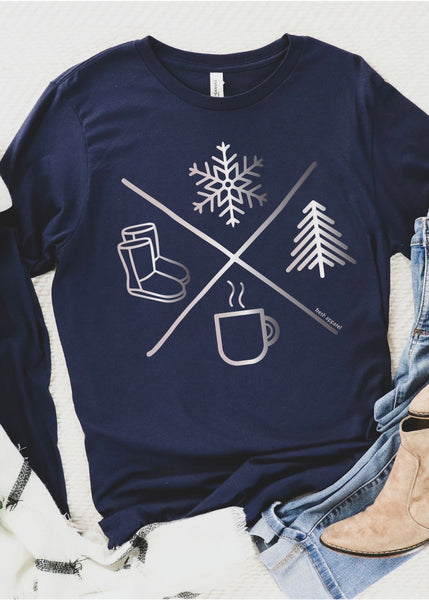 Winter Icon Navy Long Sleeve Tee