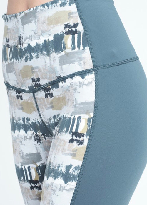 Mono B Teal + Watercolor Color Block Leggings