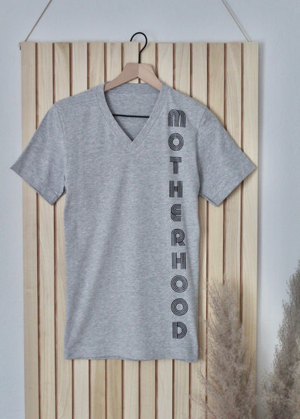 Retro Motherhood Grey V Neck Tee