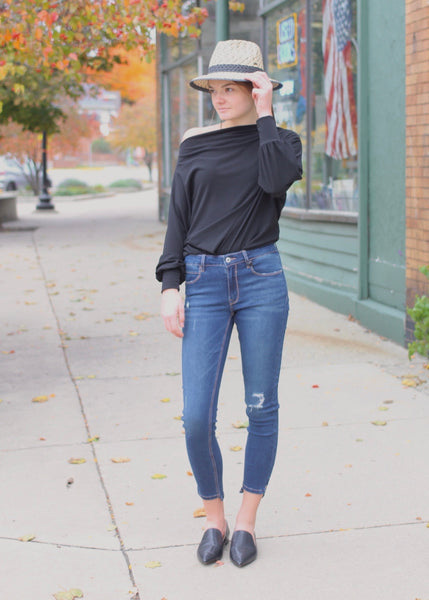 Sabrina Off Shoulder Black Top