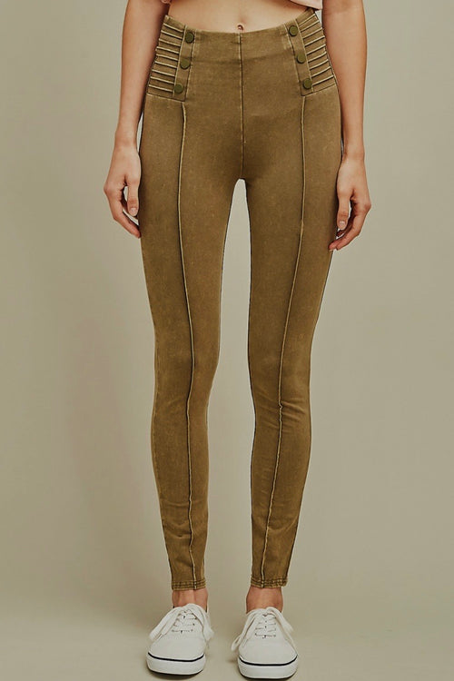 Mineral Wash Olive Leggings