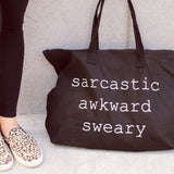 Sarcastic Awkward Sweary Large Zipper Black Tote