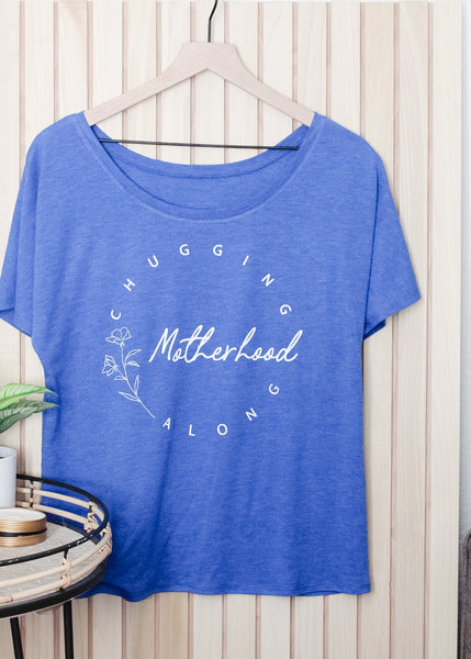 Motherhood Chugging Along Royal Slouchy Tee