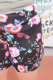 Saylor Black Floral Lounge Shorts