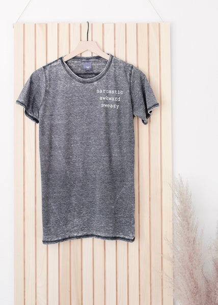 Sarcastic Awkward Sweary Grey Acid Wash Tee