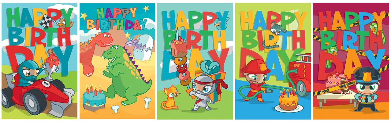 Children's Birthday Cards Pack A1
