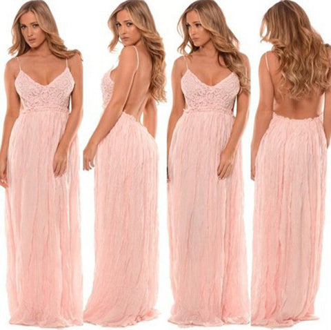 Light Pink Crochet Backless Maxi Dress