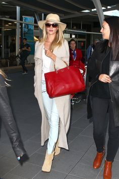 Rosie Whiteley in Neutral Nude wardrobe clothes with bright bag