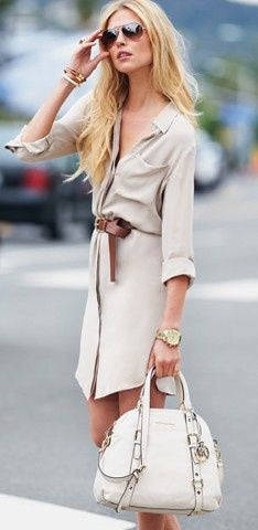 Nude Beige Neutral color wardrobe with patterned belt