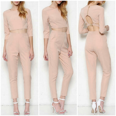 Nude Beige Crop Top High Waisted Pants Trendy Set