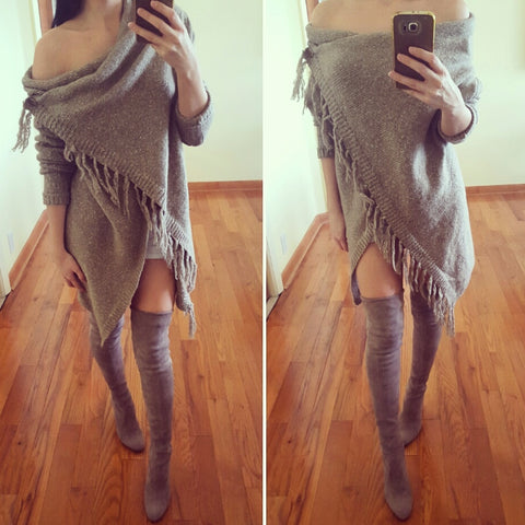 Oversized off shoulder warm winter sweater poncho with thigh high boots