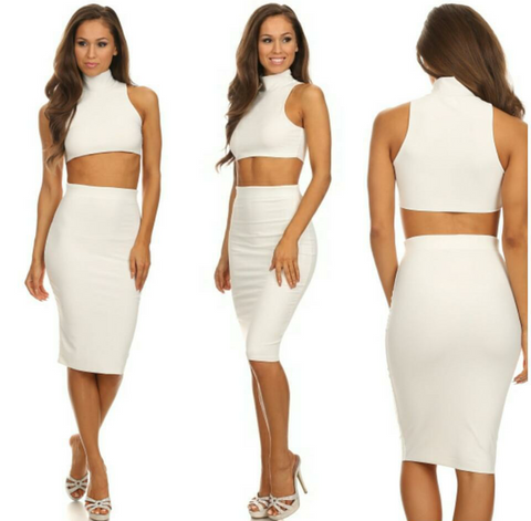 White turtle neck crop top and high waisted body con midi skirt set