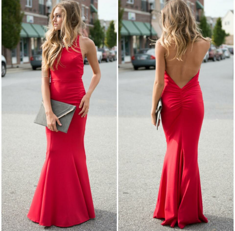 Red Valentine's Day Off Backless Maxi Gown Bodycon Sexy Cute Dress
