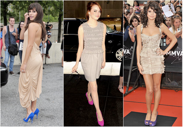 Celebrities in Nude Neutral Beige outfits wardrobe with bright pumps heels