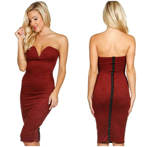 Burgundy Faux Suede bustier body con midi party cocktail dress