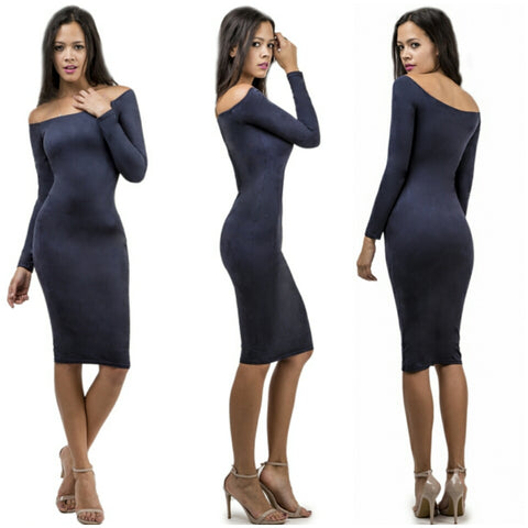 Off shoulder faux suede bodycon christmas sexy strapless dress
