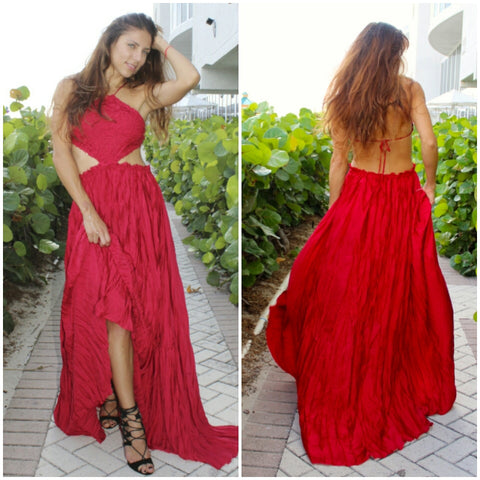 Red Crochet Cut out Backless Maxi New Years Xmas Christmas Dress