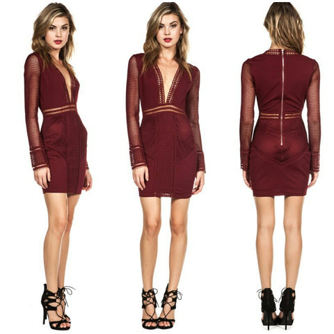 Burgundy Crochet long sleeve deep v-neck cocktail short dress