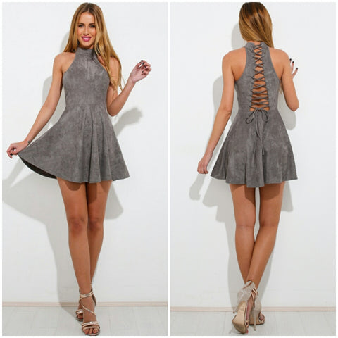 Faux suede turtleneck flared lace up back short cute dress