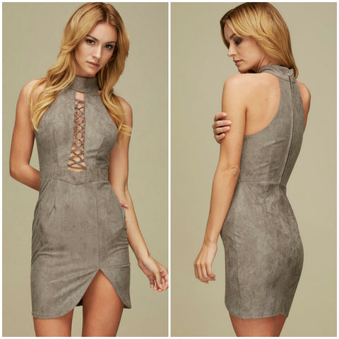 Grey Lace up faux suede turtleneck slit short cute cocktail dress