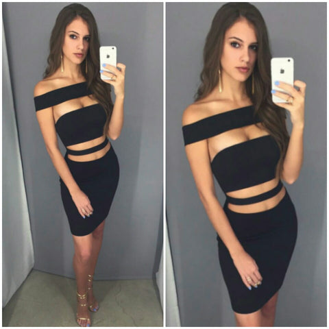 Black cut out bodycon short dress inspired by Kylie Jenner