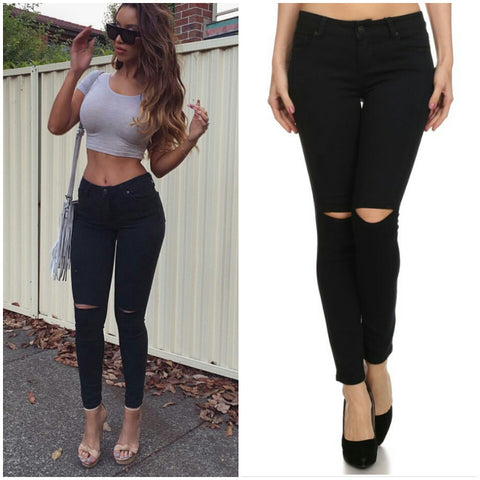 Black skinny cut out knee low rise jeans pants