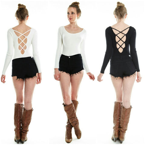 Black and White Lace up Criss Cross Long sleeve bodysuit sweater top