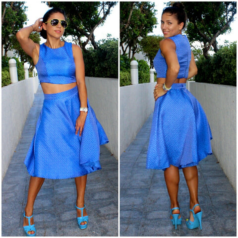 Blue crop top and high waisted flared cute trendy skirt set