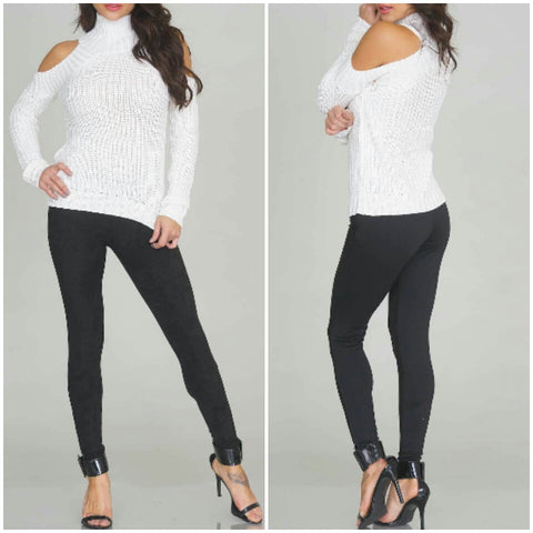 White turtleneck cut out shoulders winter cute stylish trendy sweater top