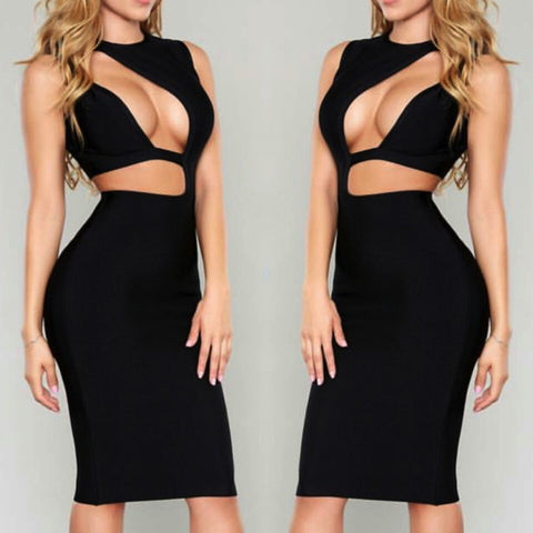 Celebrity style cut out black bandage sexy cocktail dress