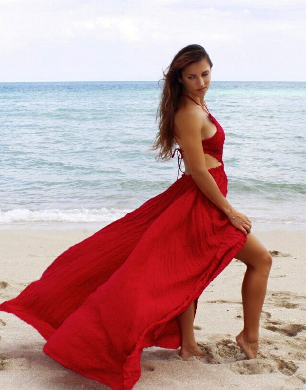 Red Cut out Crochet Backless Christmas Maxi Long Beach Dress