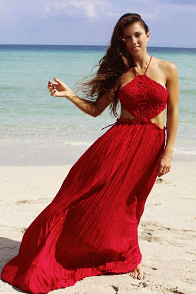 Irina Red Crochet Cut out Backless Maxi Dress