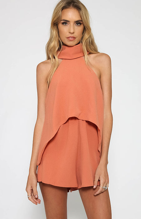 Rust turtleneck layer romper cute trendy jumpsuit