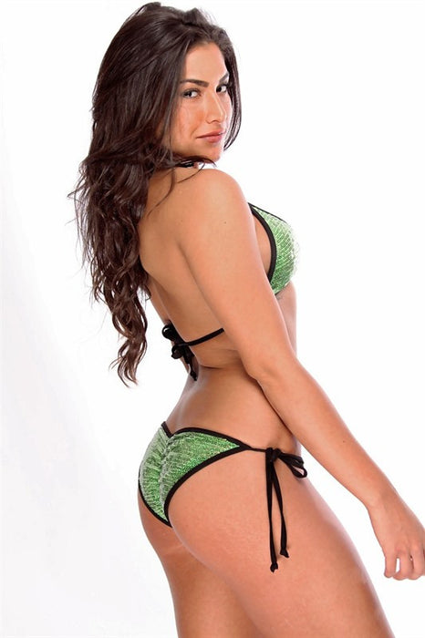 Green and Black Sequin Brazilian scrunch back bikini sexy swimsuit swimwear