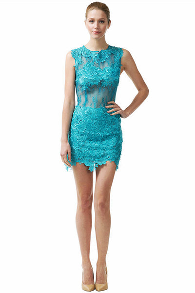 Backless Tiffany Lace Cocktail Short Dress