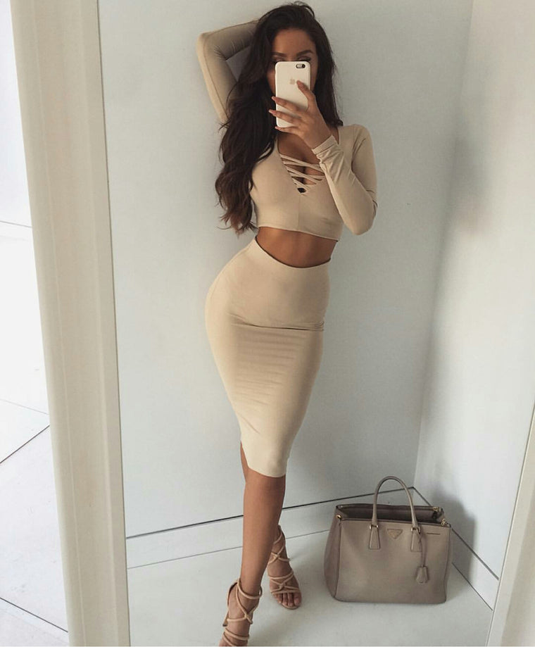 Lena Beige Lace up Long Sleeve Crop Top and Midi Skirt Set