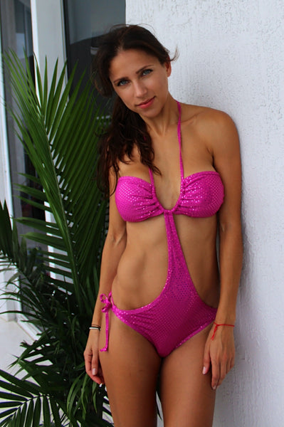 Pink sequin one piece monokini scrunch bikini