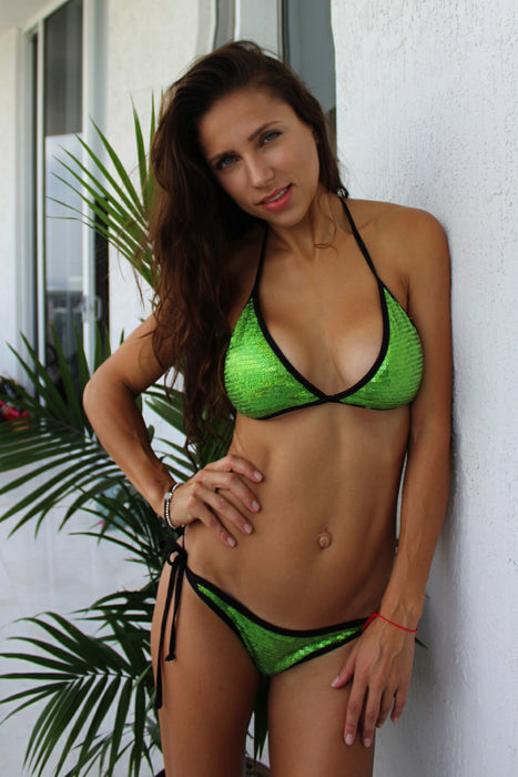 Green with Black Sequin Scrunch back bikini