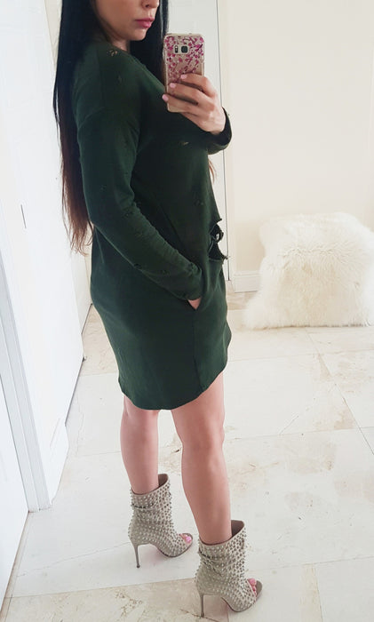 Kardashian style army green olive destroyed sweater top short dress