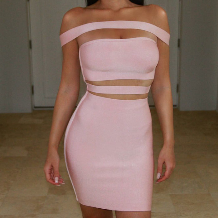 Mauve Cut out sexy bandage cocktail dress