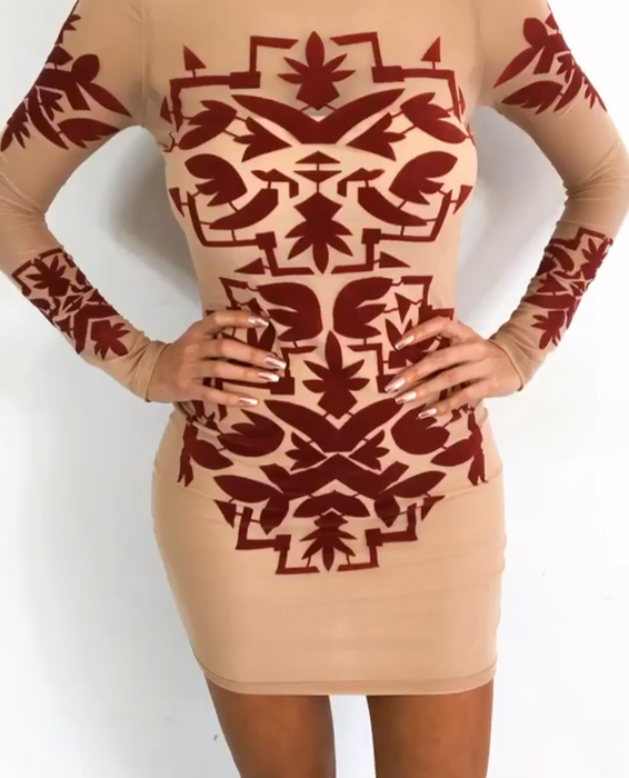 Tribal design mesh burgundy sexy cute bodycon mini cocktail party dress