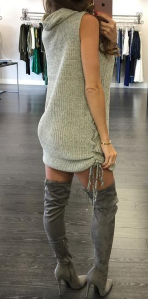 Grey Turtleneck ties up sides cute sweater top trendy dress