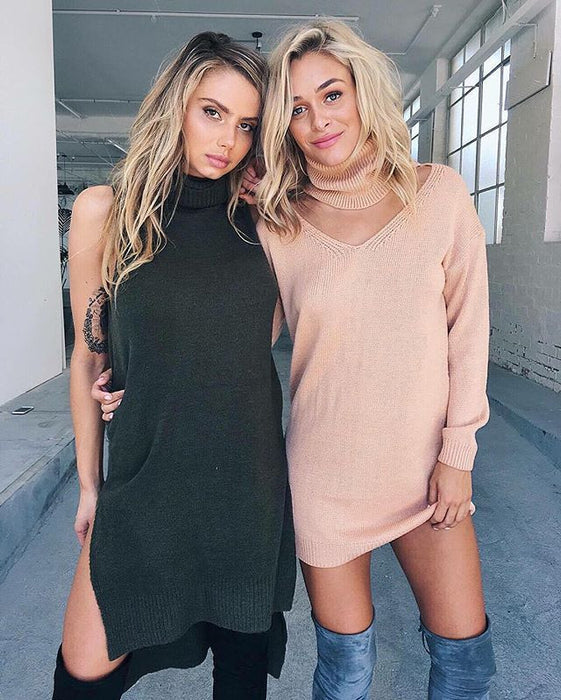 Peach turtleneck v neck short cute winter sweater top dress