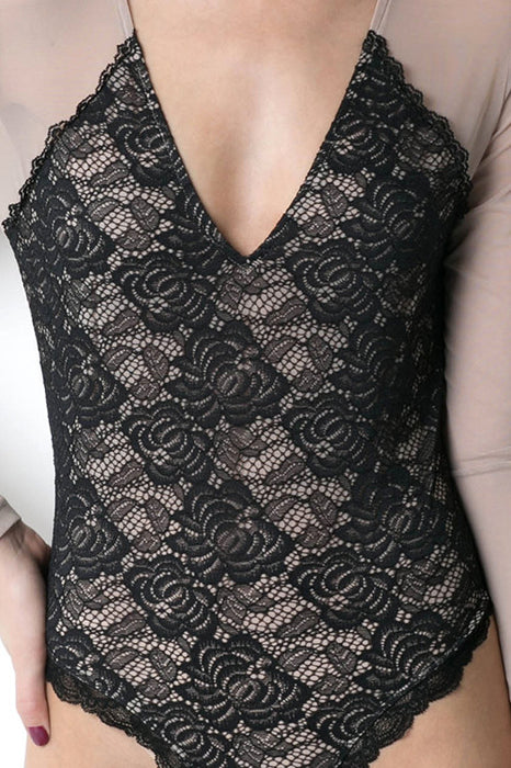 Valentina Long Sleeve Black Lace Backless Top Bodysuit