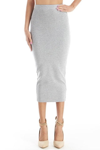 Heather grey High waisted bodycon midi skirt