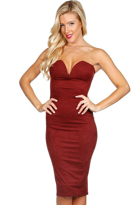 Burgundy Faux Suede Bustier Body Con Dress