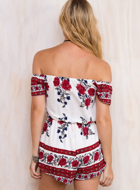Off shoulder floral summer flower cute romper playsuit