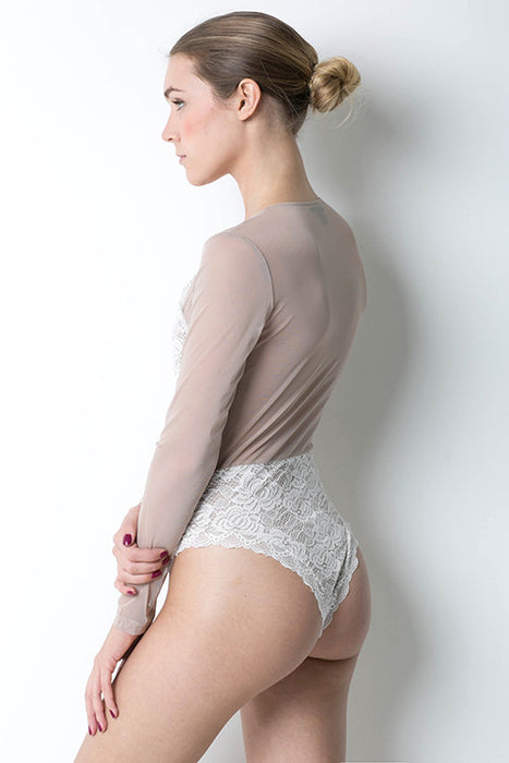 White Backless Long Sleeve Top Bodysuit