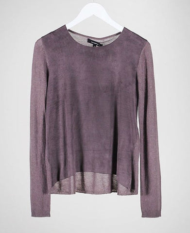 Grey suede wool sweater top